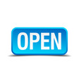 open blue 3d realistic square isolated button vector image