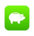 piggy icon digital green vector image