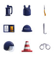 police icon set cartoon style vector image vector image