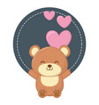 round frame with toy bear vector image