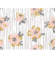 Seamless pattern with pink and gold flowers on the vector image vector image