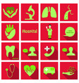 set of medecine icons in flat style with long vector image vector image