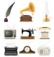set of much objects retro old vintage icons stock vector image vector image