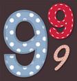 Set of stitched font - 9 Nine vector image