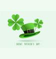 st patricks leprechaun hat and clover leaves vector image
