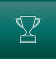 trophy cup flat icon in line style simple winner vector image