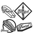 Vintage funeral emblems vector image