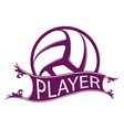 volleyball player ribbon vector image