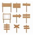 Wooden signboards wood arrow sign set vector image vector image