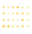 yellow sparkling stars shiny flashes fireworks vector image