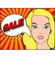Comics style woman with SALE bubble Pop art vector image
