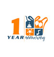 1 years gift box ribbon anniversary vector image vector image