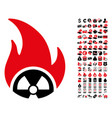 atomic fire icon with 90 bonus pictograms vector image