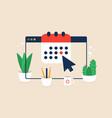 calendar or agenda on browser window screen flat vector image