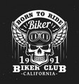 california biker club skull in helmet with wings vector image