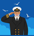 captain sea ship in uniform saluting vector image vector image
