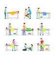 cartoon characters people and massage procedure vector image vector image