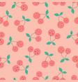 cherries pattern on pink vector image