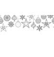 christmas ornaments seamless border black vector image