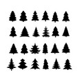 christmas tree silhouette design set vector image
