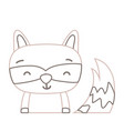 color line adorable and smile raccoon wild animal vector image vector image