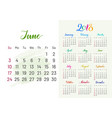colorful planner 2018 june separately vector image vector image