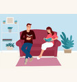 couple reading book together on sofa at home vector image vector image