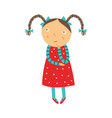 cute curious little girl with pigtails hairstyles vector image vector image