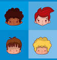 cute kids faces vector image