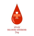 Drop of Red Blood with White Cross and Heart vector image vector image