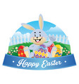 easter bunny with an egg vector image