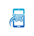 fast shopping cart smart mobile icon vector image