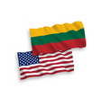 flags lithuania and america on a white vector image vector image