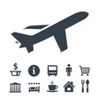 flat monochrome travel icons set vector image vector image