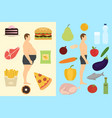 food choice concept banner vector image vector image