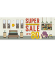 Furniture Super Sale Up to 80 Percent vector image vector image