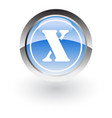 glossy icon letter x vector image vector image
