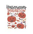 halloween trick or treat promo poster flat vector image