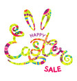 hand drawn happy easter sale lettering on white vector image