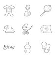 kid accessories icons set outline style vector image vector image