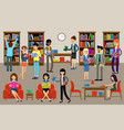 library interior with people and book shelves vector image