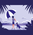 man in tropical beach seascape scene vector image vector image