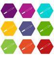 marijuana icon set color hexahedron vector image vector image