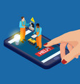 mobile app electrician services isometric vector image
