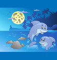 night seascape with happy dolphins vector image vector image