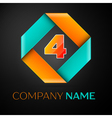 Number four logo symbol in the colorful rhombus on vector image vector image
