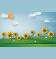 paper art style of sunflower with landscape vector image vector image