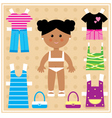 Paper doll with clothes set vector image vector image
