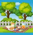 picnic in garden in the morning vector image vector image