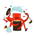 Red Octopus Chef Cooking Food vector image vector image